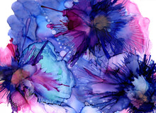 abstract alcohol ink blue purple flowers on yupo paper