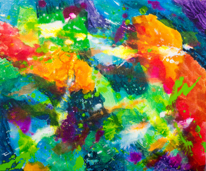 vibrant abstract colorful splashes painting