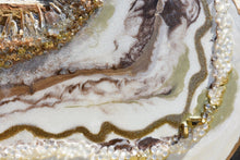 close up gold and white resin geode inspired painting