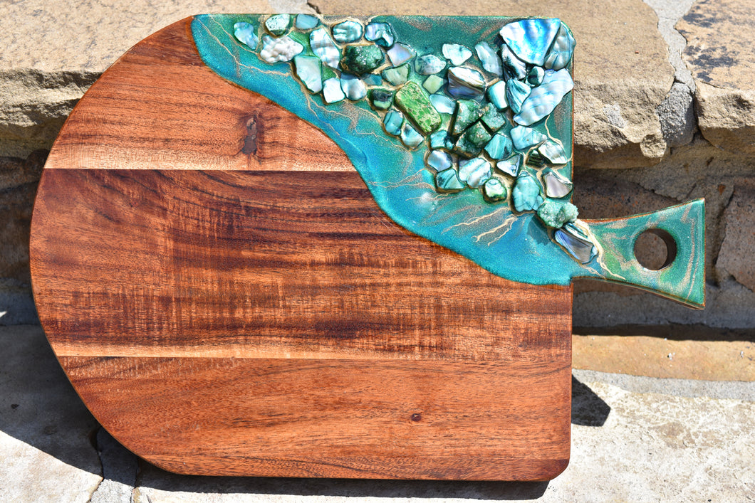 wood cheese board green resin art stones