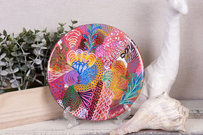 abstract rainbow colors of acrylic paint flower round wood with resin