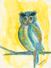 Alcohol ink painting of bright sunny wise owl perched on tree limb
