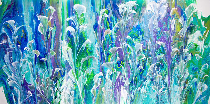 Abstract white cala lily flowers on blue green lavender background