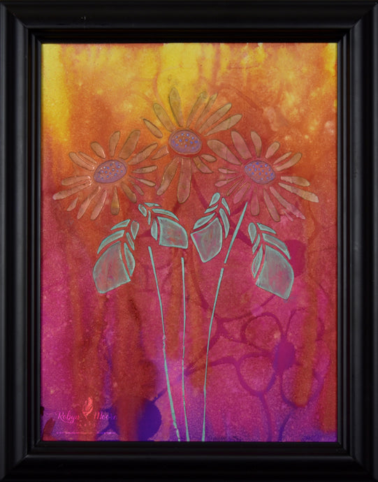 textured daisies watercolor ink painting vibrant background