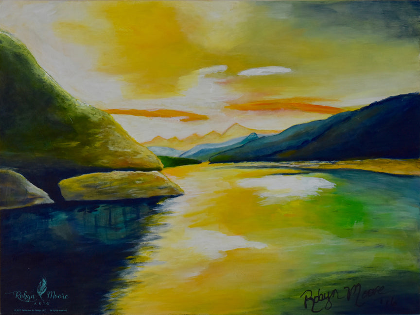 lake view sunrise painting rocky beach shoreline mountains