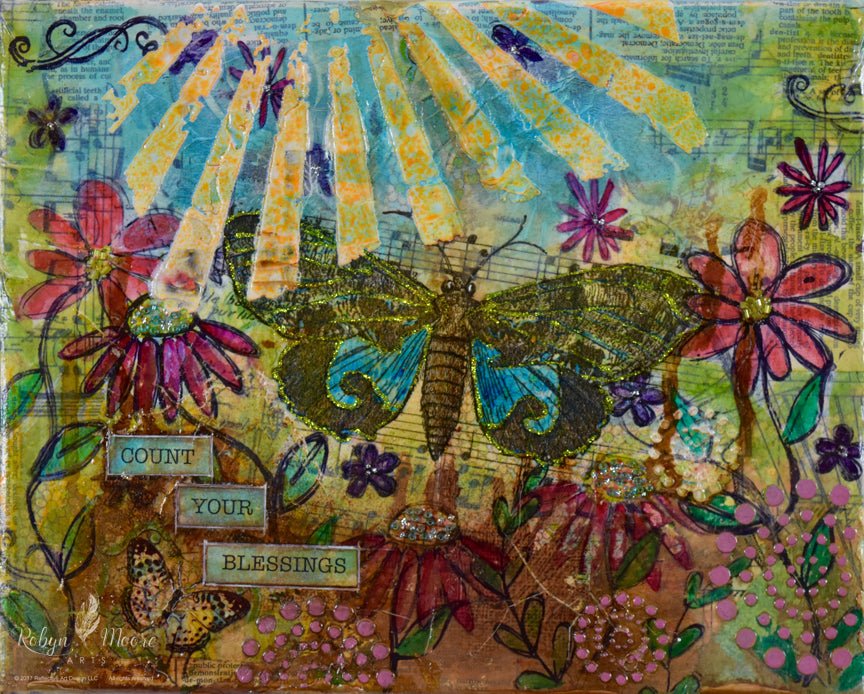 mixed media textured rays of sun wildflowers butterflies with the words