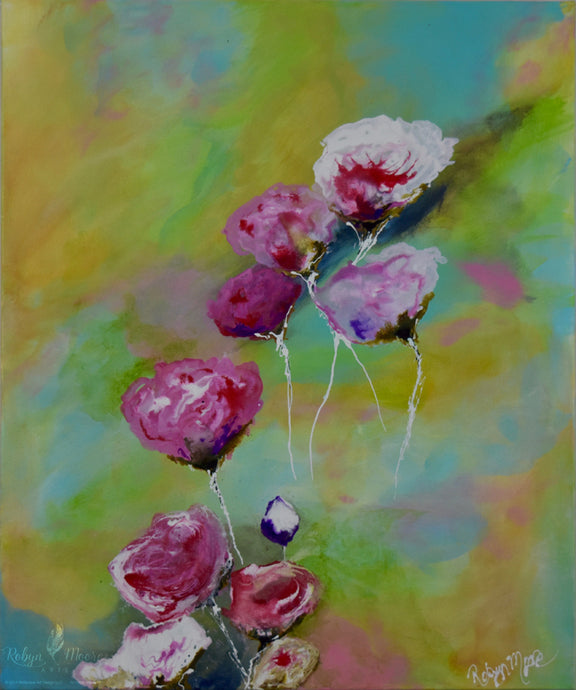 floral art piece acrylic rainbow colors with roses and stems