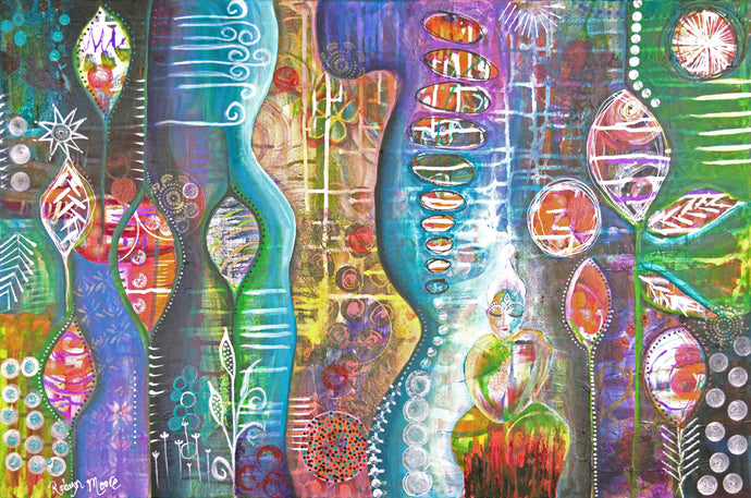 colorful abstract acrylic and ink painting with under layers peeking through the organic shapes and texture elements