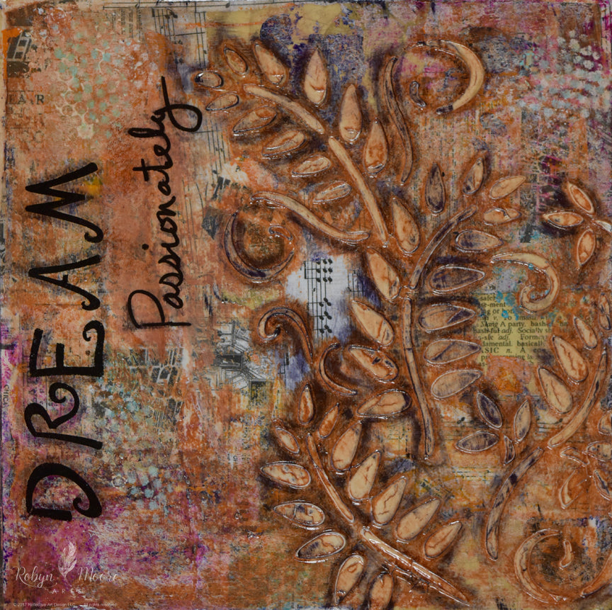 aged grunge looking abstract textured painting with layers ferns and words