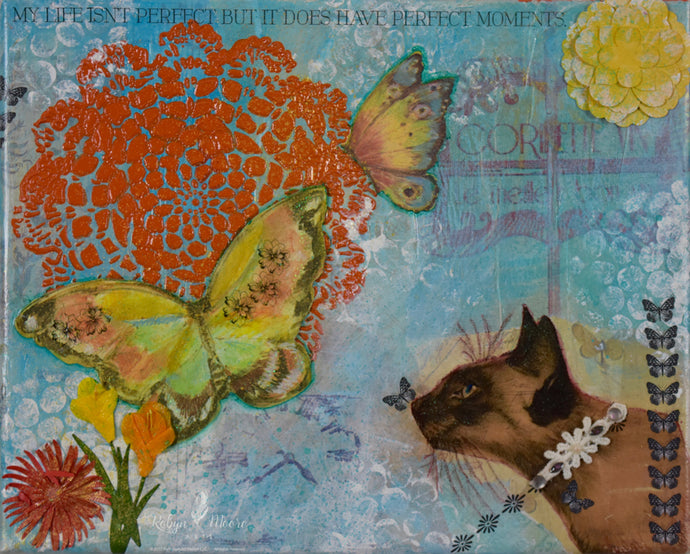 mixed media and texture kitty blue background with butterflies flowers