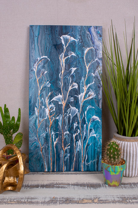 abstract fluid acrylic painting vibrant blue colors with white and copper flowers