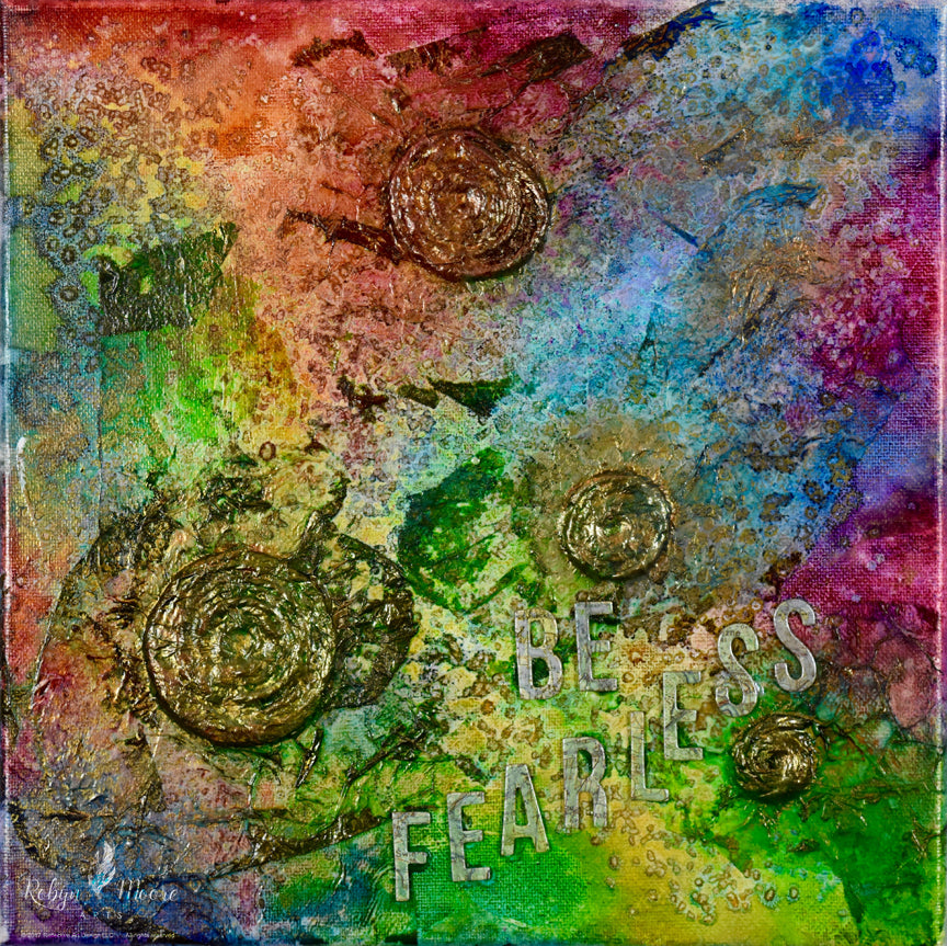 vibrant abstract mixed media rainbow colored acrylic painting underlying rope circles interesting texture