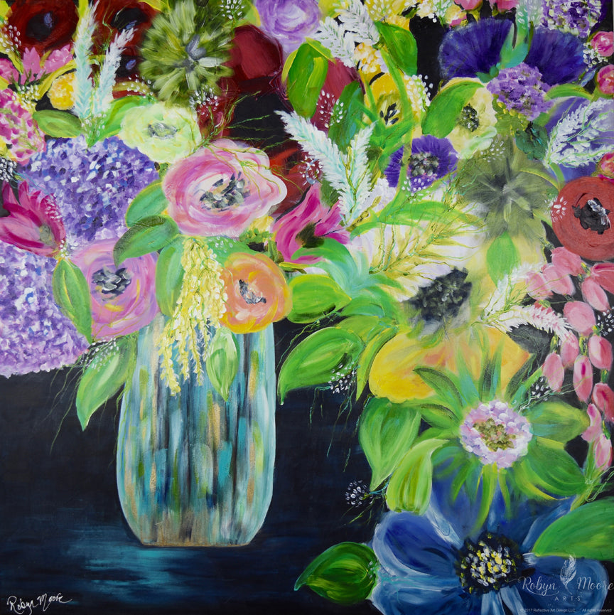 vase of textured multiple type and color overflowing flowers acrylic painting