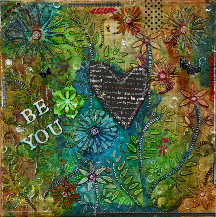 summer flower and fern field with layers of texture colors interesting elements printed heart in center