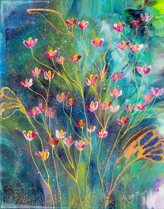 abstract fluid acrylic floral painting with texture and vibrant blue pink colors