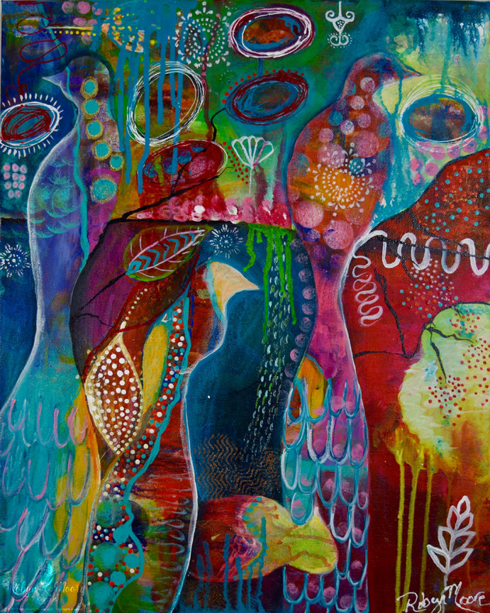 multiple layer acrylic and ink painting many vibrant colorful birds and abstract designs