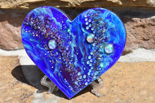 blue purple resin heart with fire glass