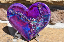 magenta blue heart with fire glass and glitter