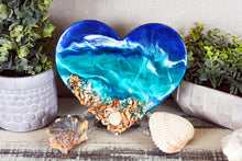ocean heart with shells blue teal white