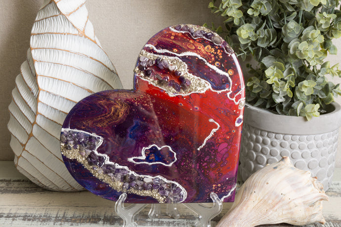 Abstract purple red heart with stones and glitter