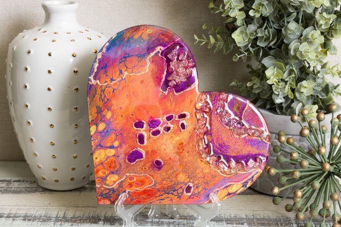 abstract orange purple heart with stones