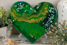 organic swirl green gold heart with white flakes