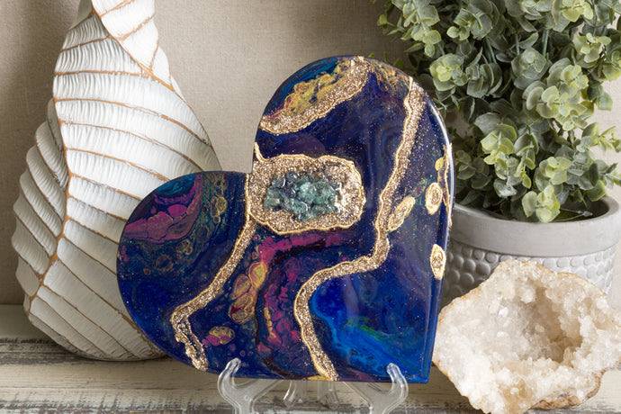 blue and pink heart with gold and stones