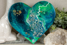 organic swirl blue green teal heart with silver flakes
