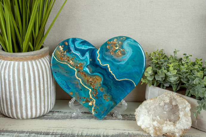 organic swirl blue teal heart with gold flakes and foil