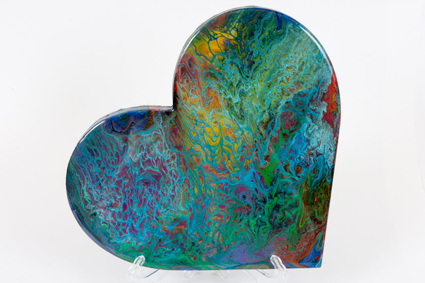 Abstract rainbow blue heart