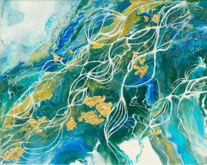 organic swirls of blue, teal, green and white accented with gold foil and white line detail.