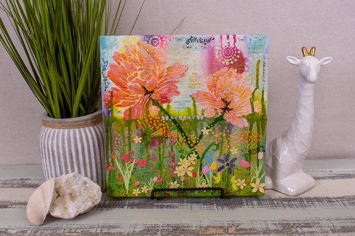 multi layered mixed media textured flower garden of peonies and wildflowers with sky and grass