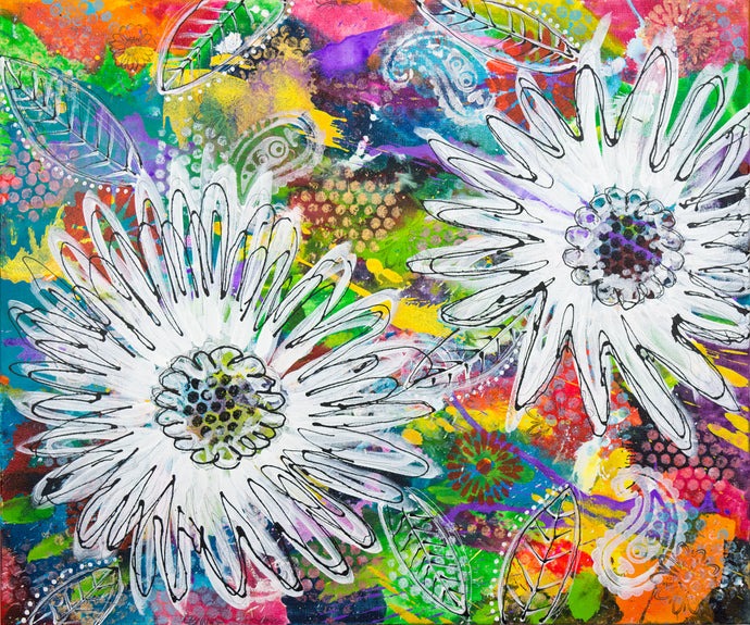 vibrant abstract background with daisies ink painting