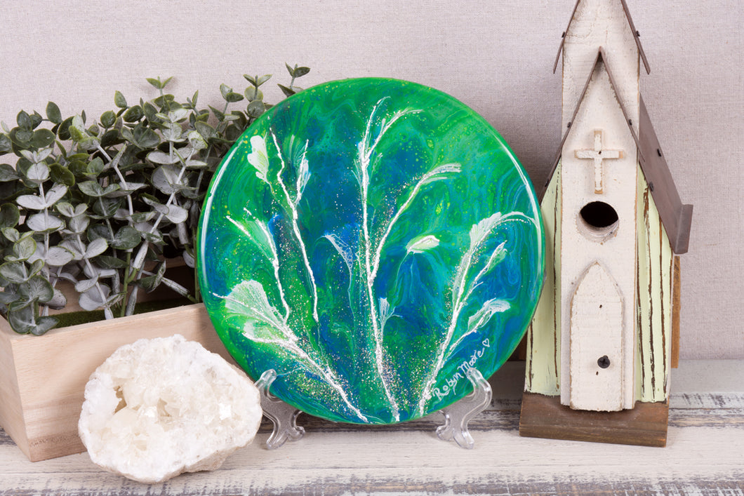 abstract fluid acrylic round painting vibrant blue teal green flowers