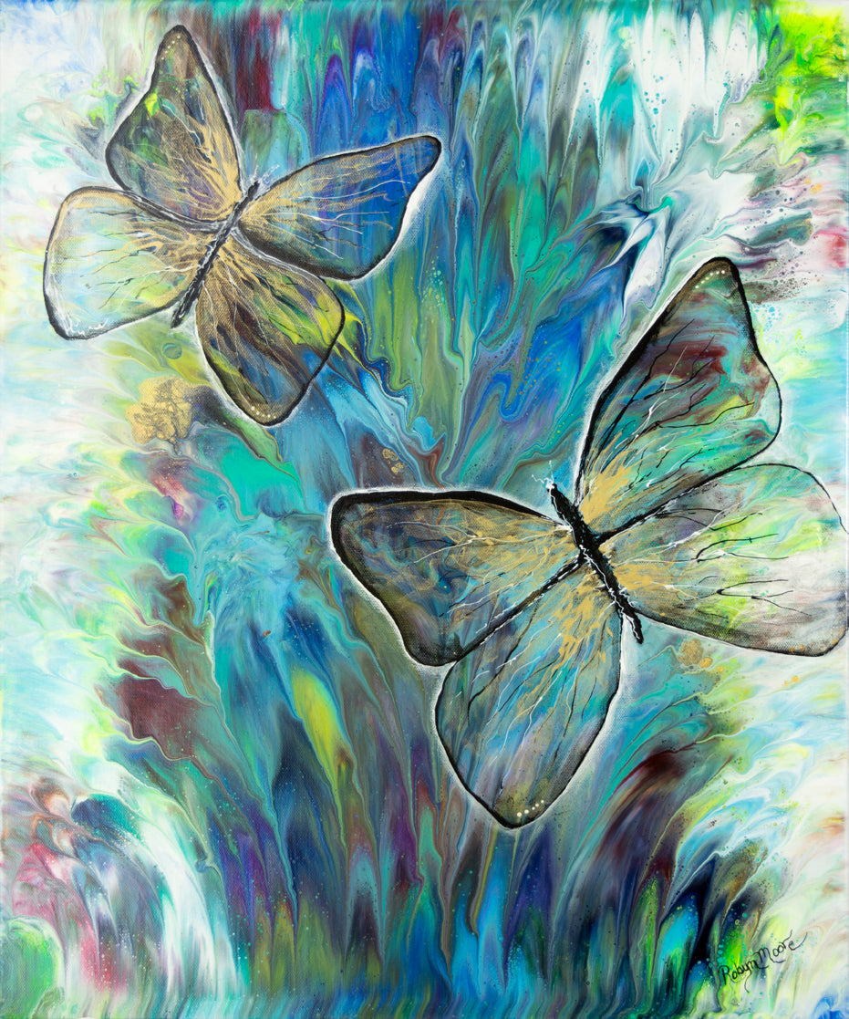 butterfly painting on blue teal green purple background