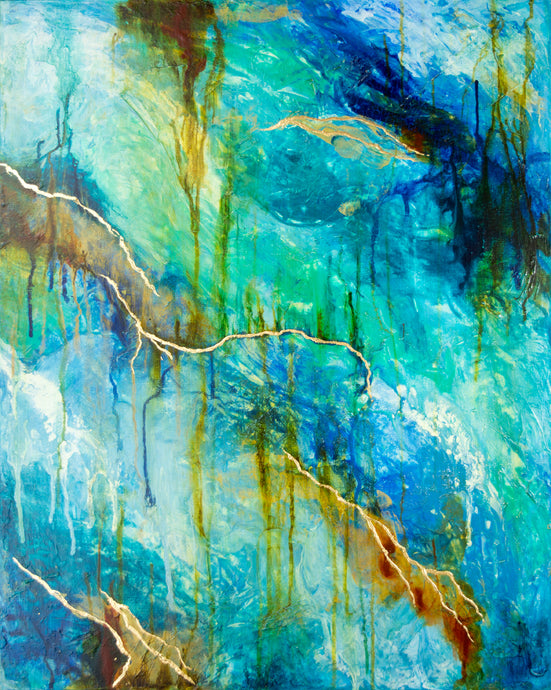 abstract acrylic painting with texture in blue, teal, white and gold colors