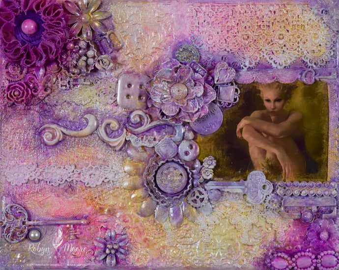 Finnabear style art with fairy accents layers of lace and bits and baubles distressing