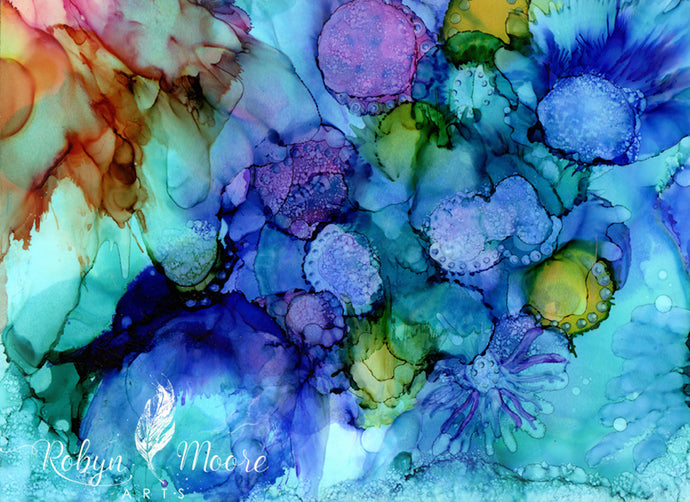 Bright lively abstract alcohol ink with texture.