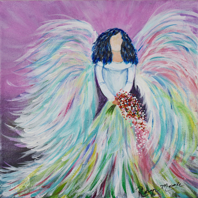 spiritual bridal angel in soft pastel shades of acrylic paint and ink