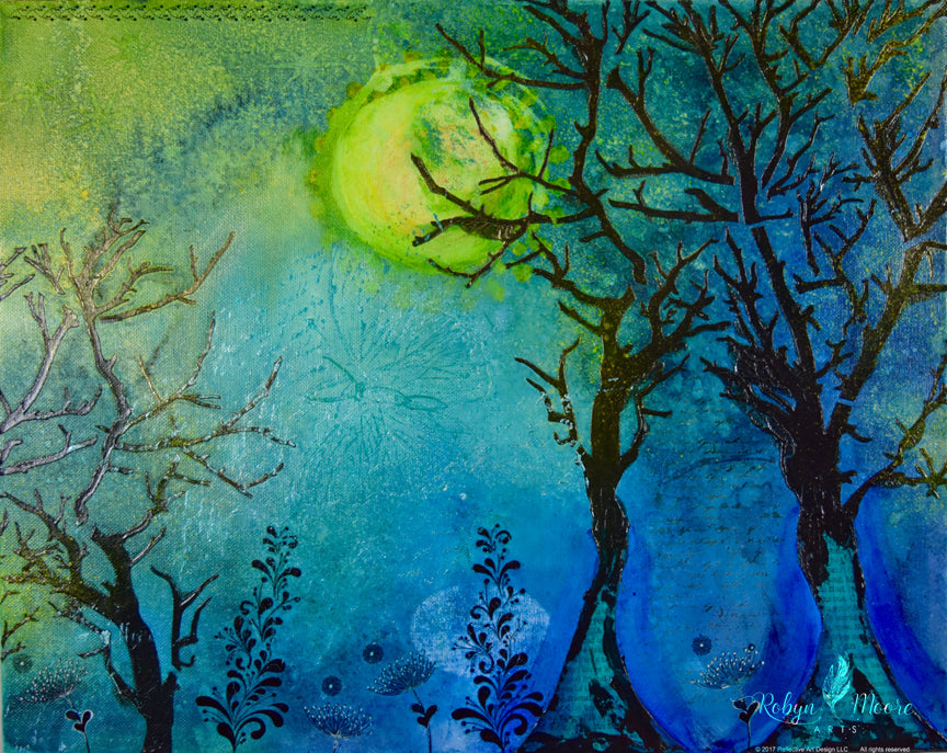 textured and paper trees in glowing moonlit forest with night flowers