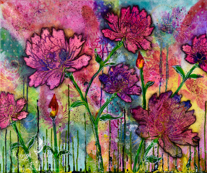 peony flower garden watercolor rainbow background with peony imprints