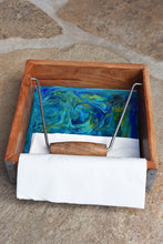abstract resin napkin holder blue teal green yellow