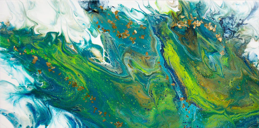 abstract fluid acrylic painting ocean blue green colors