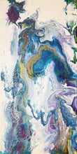 abstract fluid acrylic painting with texture and vibrant blue lavender colors