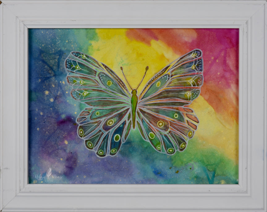 hand painted butterfly rainbow watercolor ink background