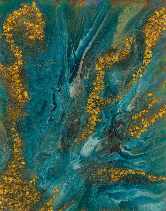 abstract fluid acrylic painting with texture and vibrant blue teal and copper colors