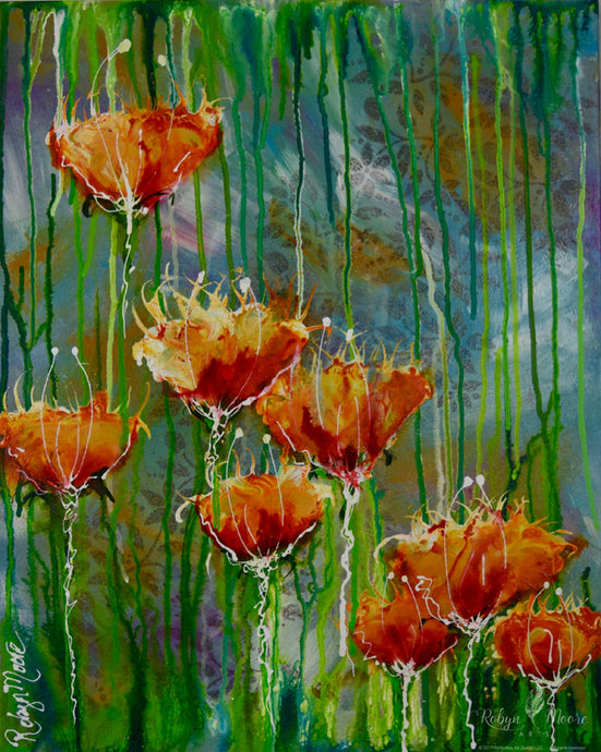 flowers layered watercolor background with floral imprint rain looking drips
