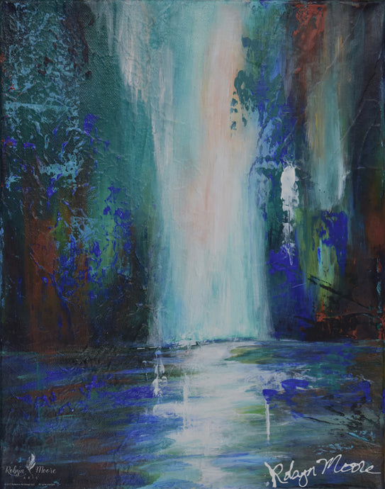 waterfall palette knife acrylic painting in soothing colors