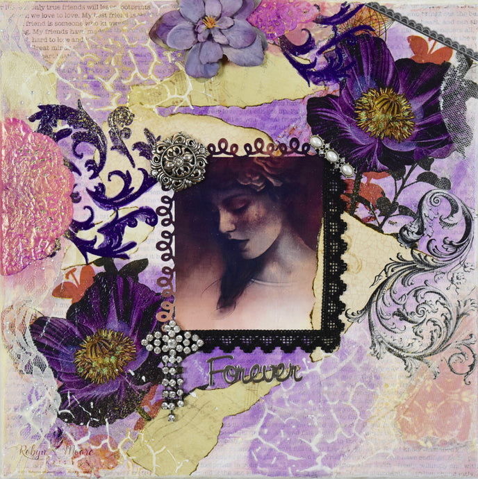 mixed media flower and lady painting soft neutral colors textural designs