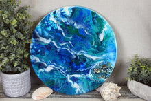 Abstract Resin Lazy Susan blue teal green white with shells and fire glass